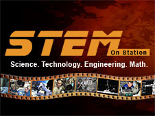 The words STEM on Station, Science, Technology, Engineering, Math, above a filmstrip showing astronauts performing experiments