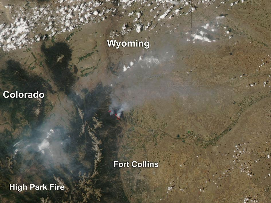 The smoke from Colorado's High Park Fire continues to be visible on NASA satellite imagery.