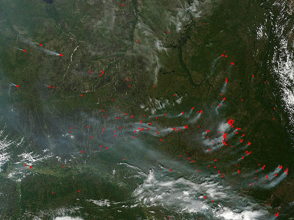 satellite image of fires in Russia