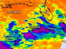AIRS captured this infrared image of a low in the southern Gulf of Mexico on June 21 at 3:29 a.m. EDT.