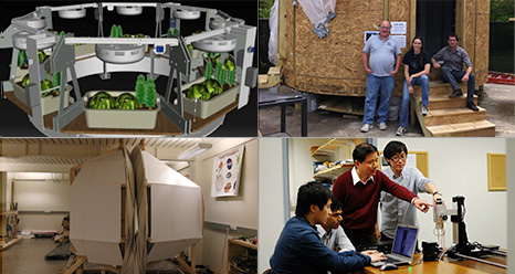 Photos of habitat components developed by the X-Hab finalist teams, clockwise from the upper right: University of Maryland - College Park, University of Bridgeport, Oklahoma State University, and Ohio State University.