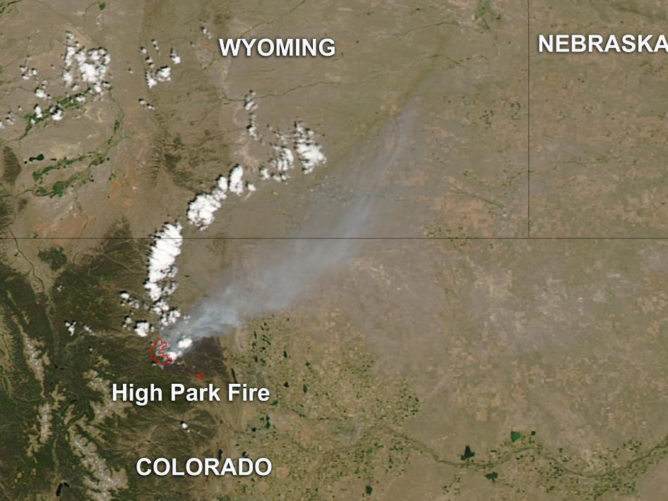 NASA's Aqua satellite captured smoke and heat signatures from Colorado's High Park Fire.