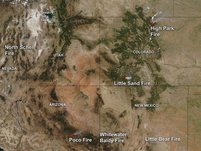 Smoke and fires in the western United States.