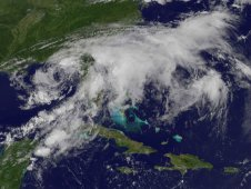 This visible image of Tropical Storm Debby was captured by NOAA's GOES-13 satellite on June 25, 2012 at 11:45 a.m. EDT.
