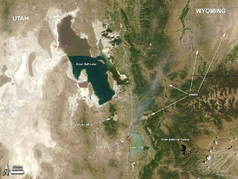 satellite image of Utah dump fire and surrounding area