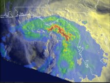 Animated blend from the infrared (IR) and visible data to TRMM TMI/PR rainfall data.