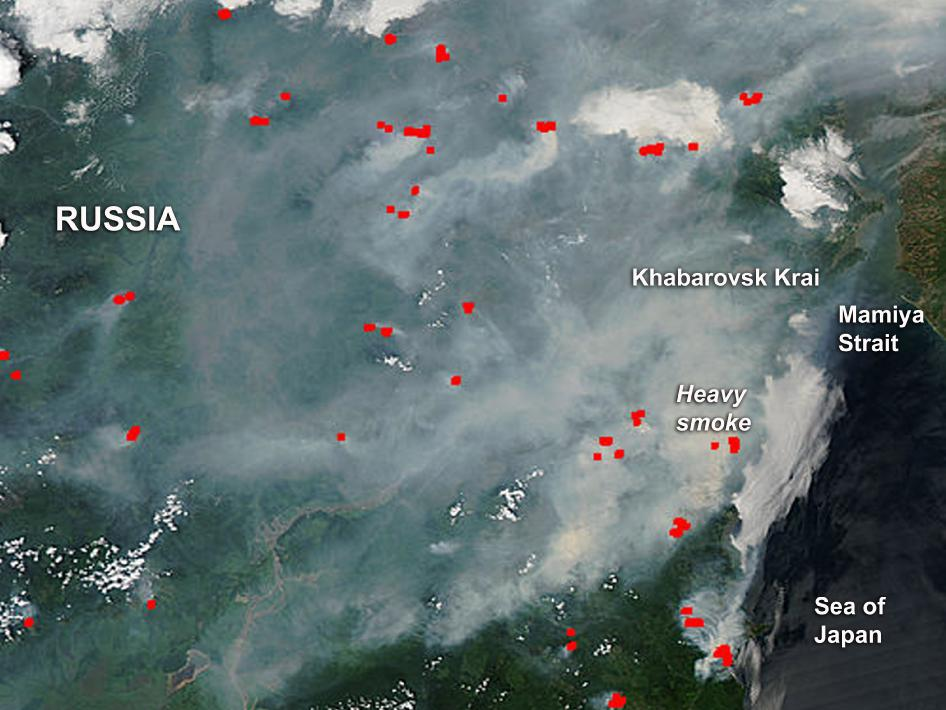 Smoke blankets southeastern Russia in this image captured by NASA's Aqua satellite on June 25, 2012.