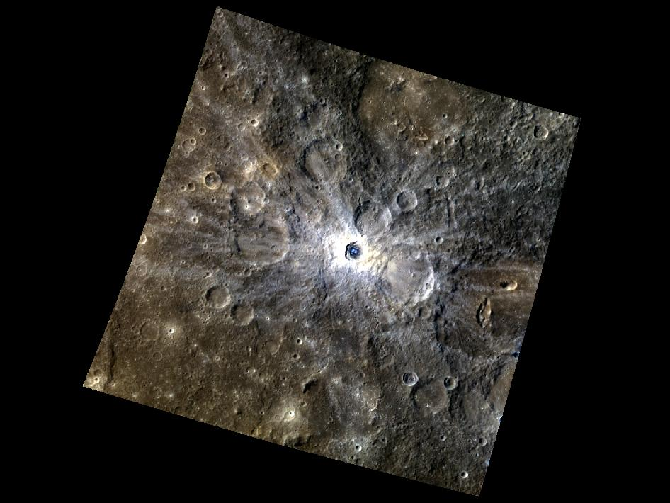 Image from Orbit of Mercury: A Crater with a Blueberry Center