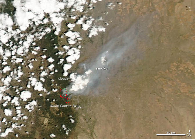 satellite image of Waldo Fire