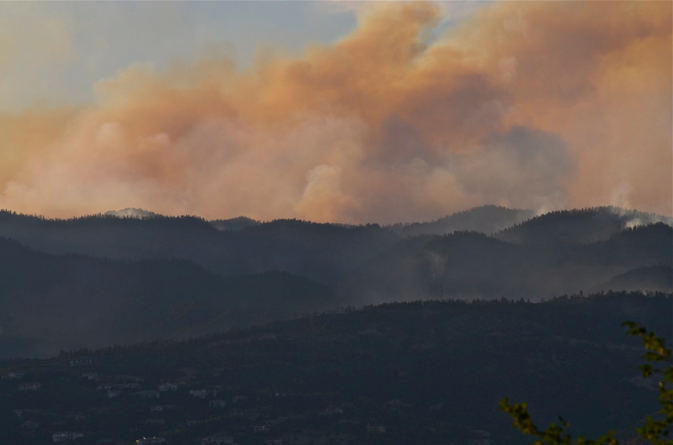photograph of Waldo Fire smoke