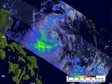This image of rainfall rates within Tropical Storm Doksuri were obtained with NASA's TRMM satellite on June 26.