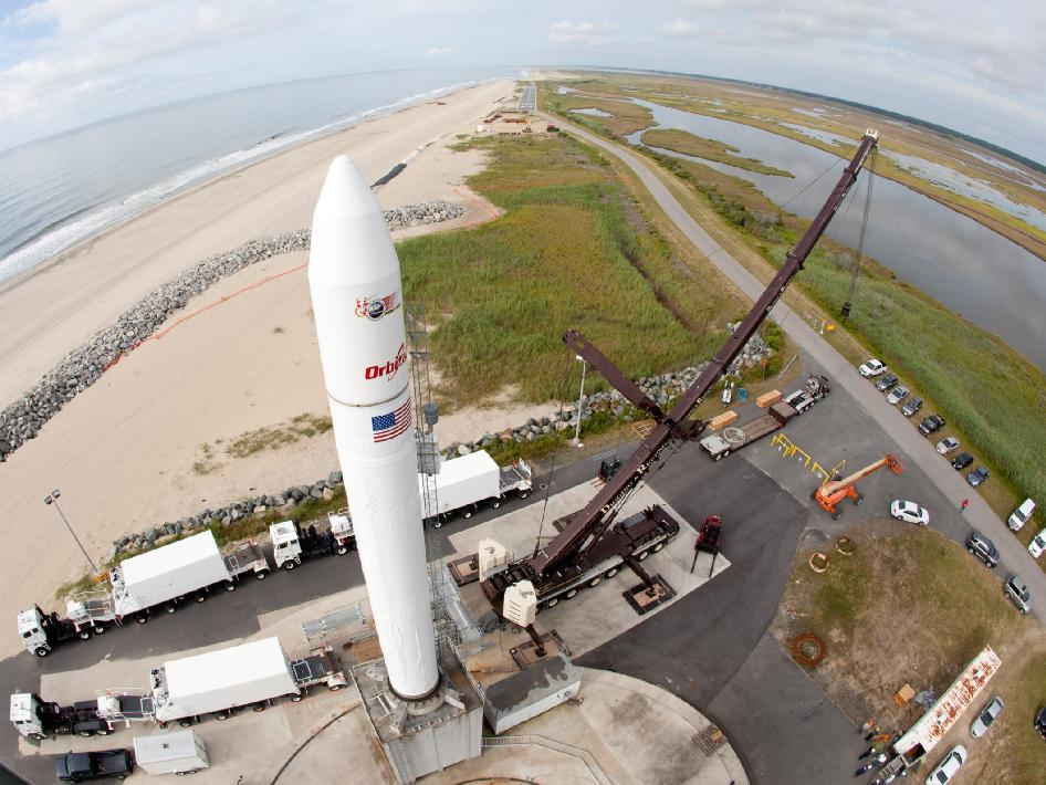 A wide-angle view of an inert Minotaur V launch vehicle is erected on the Mid-Atlantic Regional Spaceport's pad 0B at NASA's Wallops Flight Facility in Virginia.