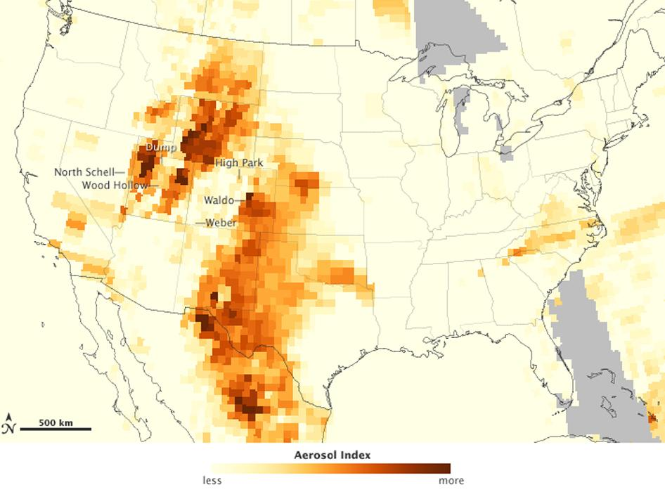 The map above depicts the relative concentration of aerosols in the skies above the continental United States on June 26, 2012.