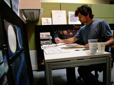 Enrico Casarosa, director of the Oscar-nominated Pixar short La Luna, painting in watercolor.
