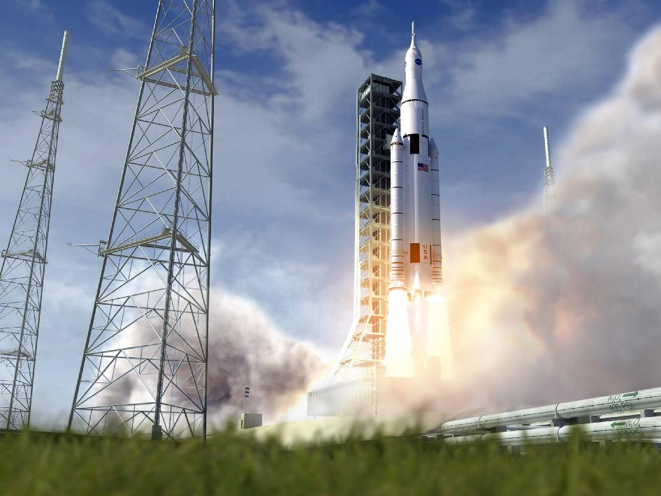 Artist's concept of NASA's Space Launch System initial crew vehicle launching from the Kennedy Space Center.