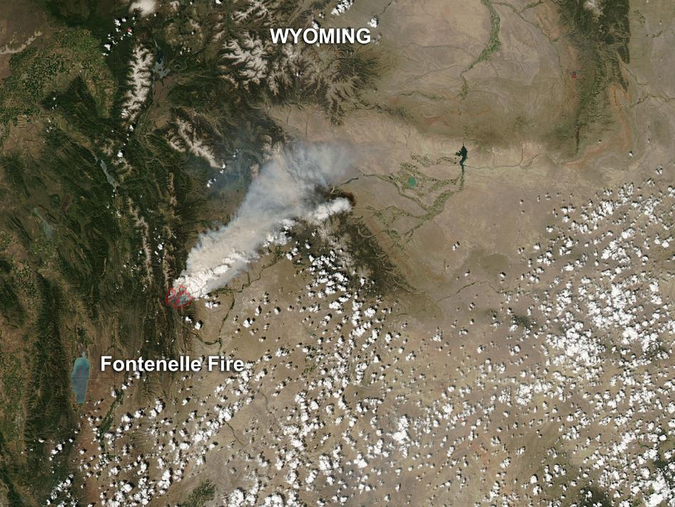 This image shows the heat and smoke from the Fonterelle fire in western Wyoming captured on June 28.