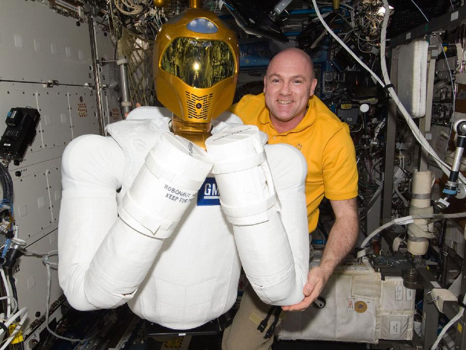 Andre Kuipers with Robonaut