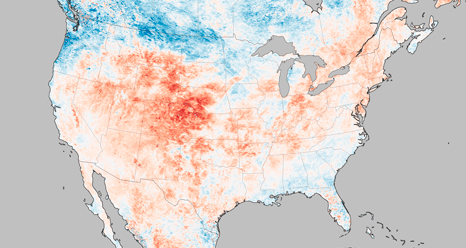 The intensity and scope of the heat wave in the western United States is visible in this map of land surface temperature anomalies for June 17–24, 2012.