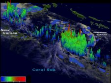 This TRMM image showed that some of the storms around tropical depression 21P reached heights of at least 15km (~9.3 miles).
