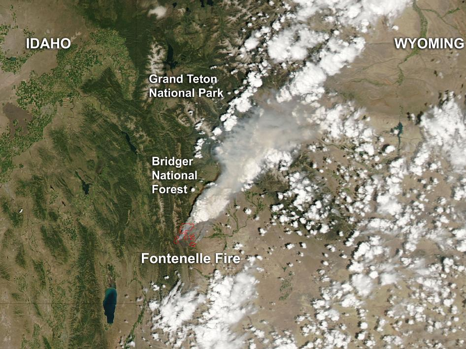 satellite image of fire in Wyoming