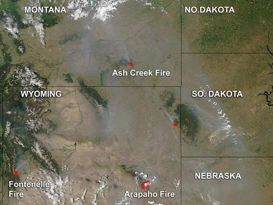 satellite image of fires in western U.S.