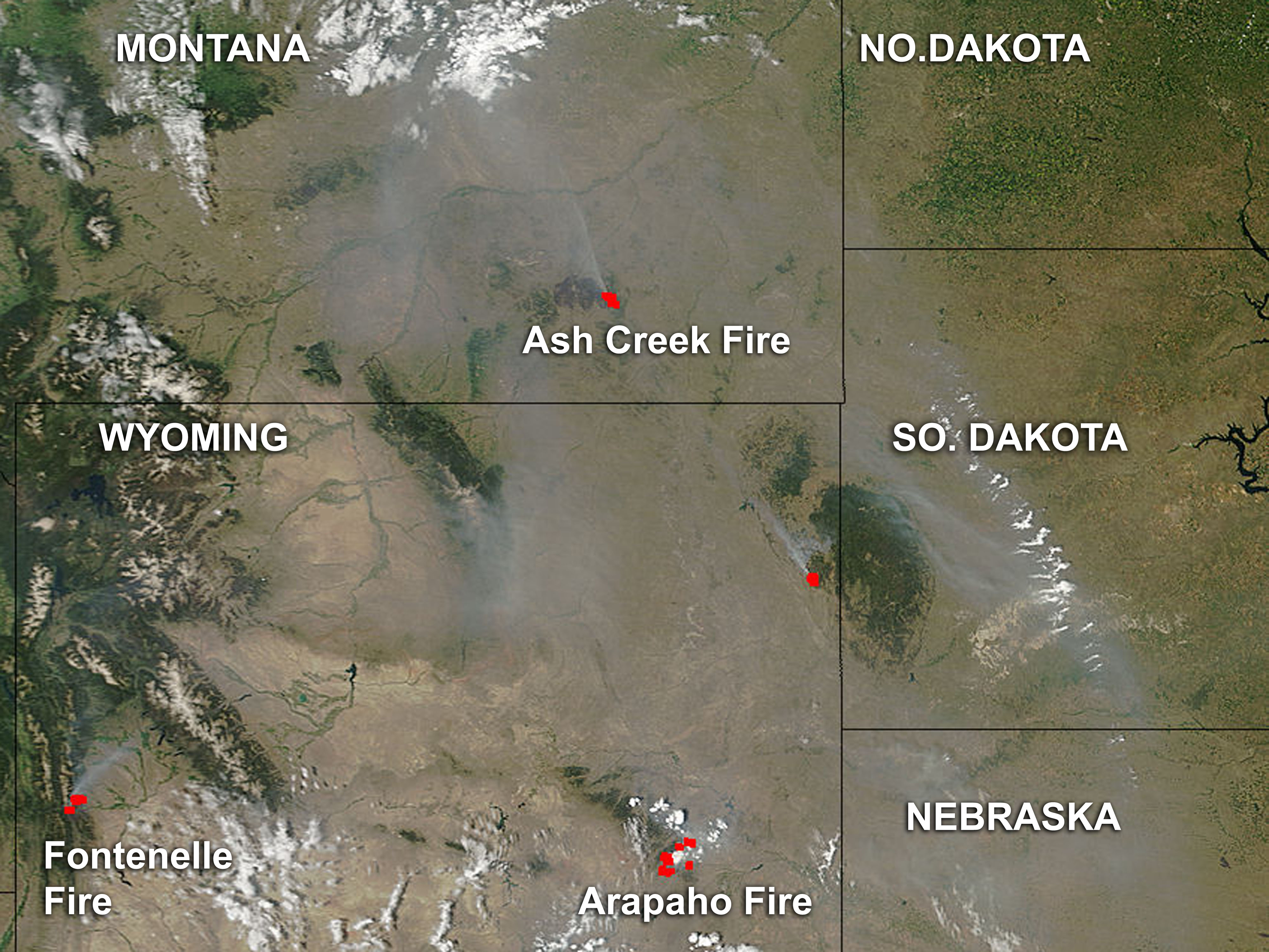 Nasa Smoke And Fires In Montana And Wyoming