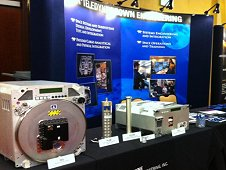 One of the displays showcasing hardware developed for conducting research in space at the 1st Annual International Space Station Research and Development Conference. (Liz Warren)
