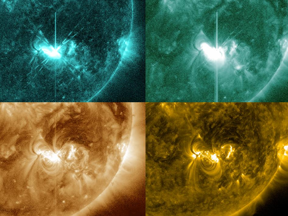 Four view of the sun's M5.3 flare on July 4, 2012 at different temperatures.