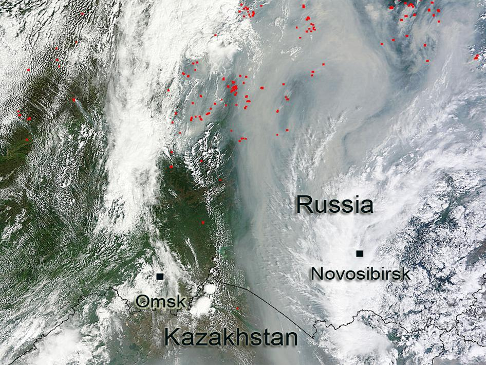 Fires and smoke in central Russia