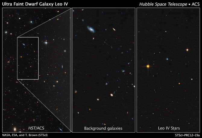 These Hubble images show the dim, star-starved dwarf galaxy Leo IV.