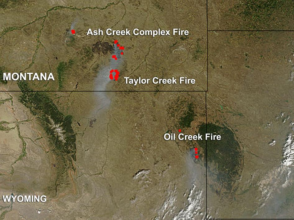 Nasa Fires In Eastern Montana And Eastern Wyoming