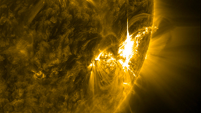 Close-up of AR1515's X1.1 class solar flare