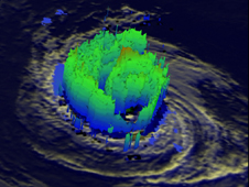 3-D view of Daniel shows that very little rainfall was present in the western side and that most of Daniel's structure was at lower levels.