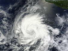 MODIS captured this visible image of Emilia when it was a tropical storm off the western coast of Mexico on July 8.