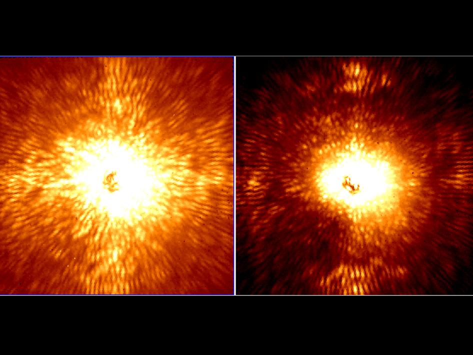 These two images show HD 157728, a nearby star 1.5 times larger than the sun