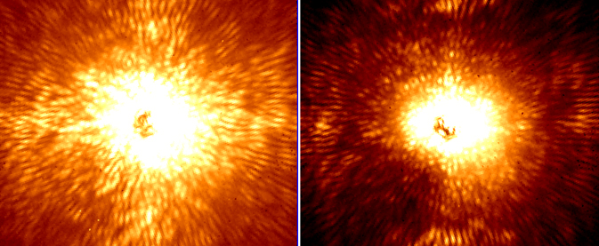 These two images show HD 157728, a nearby star 1.5 times larger than the sun.