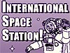 A cartoon drawing of an astronaut next to the words International Space Station