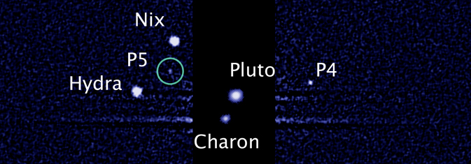 Hubble image of Pluto and its moons