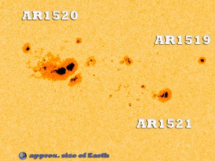 Large sunspot region 1520 with AR1519 and AR1521 with Earth to scale for comparison.