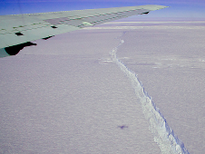 photo of a crack in an Antarctic glacier