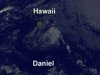 This GOES image, taken on July 13, 2012, shows the remnants of Hurricane Daniel south of Hawaii.