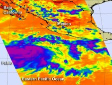 NASA's Aqua satellite captured a look at Tropical Storm Fabio's cloud top temperatures on July 12, 2012.