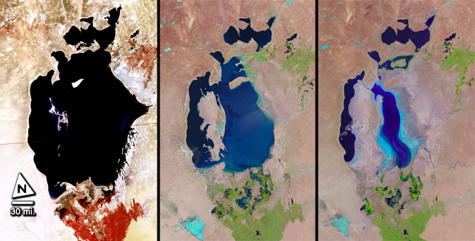 side-by-side Landsat images of the Aral Sea taken in 1977, 1998, and 2010 (left to right)