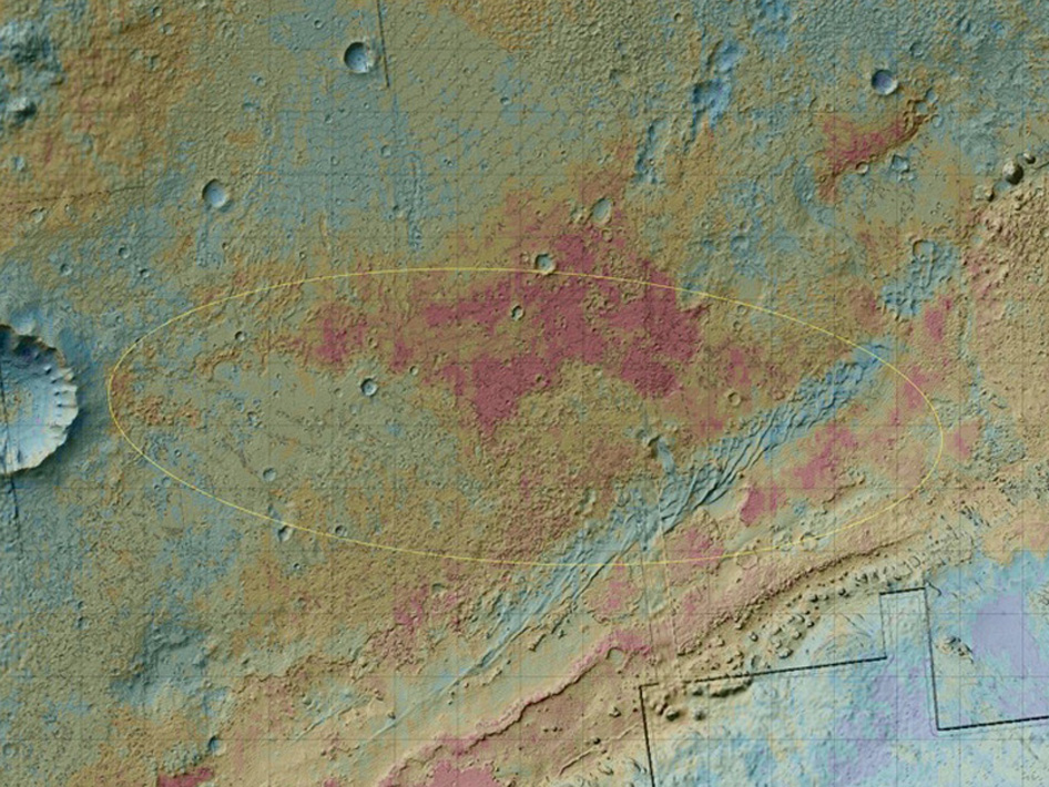 The area where NASA's Curiosity rover will land on Aug. 5 PDT (Aug. 6 EDT) has a geological diversity that scientists are eager to investigate, as seen in this false-color map based on data from NASA's Mars Odyssey orbiter
