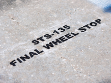 An etching marks where shuttle Atlantis rolled to a stop