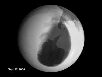Grayscale image of the 2004 ozone hole