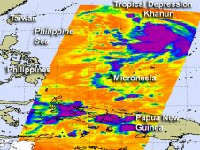 NASA's Aqua satellite saw Kahnun's cloud top temperatures on July 15, 2012 when it was a tropical depression.