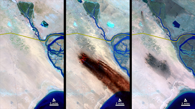 Kuwait's oil fields on the border with Iraq, before, during and after their burning.