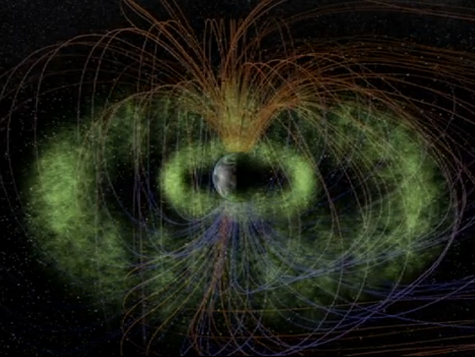 Graphic of the Van Allen Radiation Belts that surround Earth.