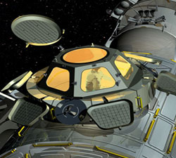 Artist's conception of the Cupola mated to the ISS